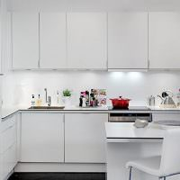 Кухня в стиле минимализма с белой мебелью