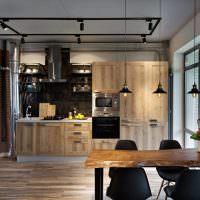Деревянная мебель в интерьере стиля лофт