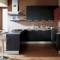 Дизайн кухни с черным гарнитуром