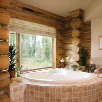 Оформление ванной комнаты в доме из бревна