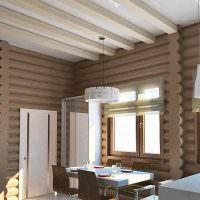 Интерьер столовой в деревянном доме