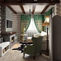 Зеленые занавески в серой гостиной