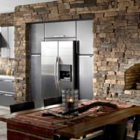 Отделка камнем стен в современной кухне