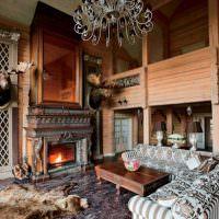 Интерьер гостиной в охотничьем стиле