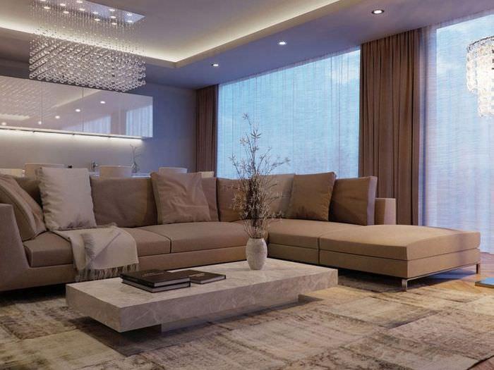 Светодиодная подсветка потолка в современной гостиной