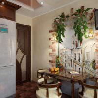 Обеденное место в интерьере небольшой кухни
