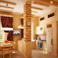 Отделка камнем колонны в кухне-гостиной