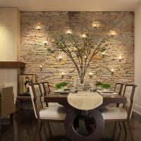 Оригинальная подсветка стены кухни