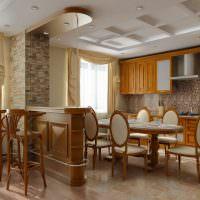 Барная стойка из дерева в классической кухне