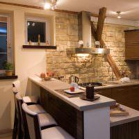 Барная стойка на кухне в загородном доме