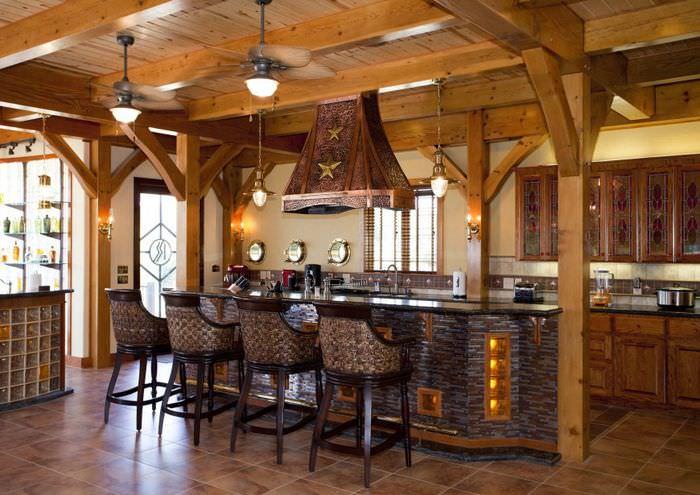 Керамический пол в интерьере кухни