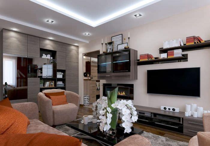 Корпусная мебель в гостиной квартиры улучшенной планировки