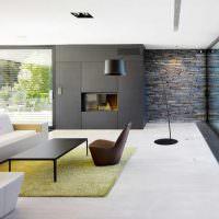 Зеленый ковер в гостиной стиля минимализма