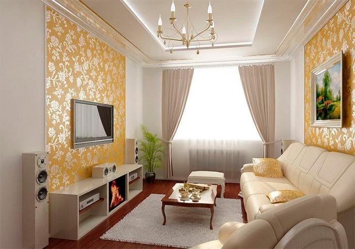 Красивые виниловые обои на стене гостиной