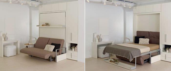 Кровать-трансформер в интерьере однокомнатной квартиры