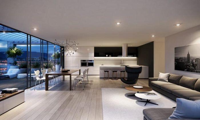 Дизайн современной кухни-гостиной в загородном доме
