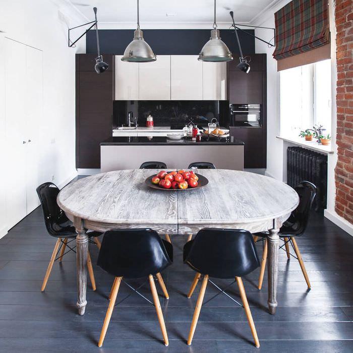 Темный пол на кухне в стиле лофт