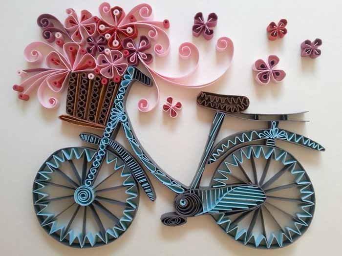 Велосипед в технике квиллинга своими руками
