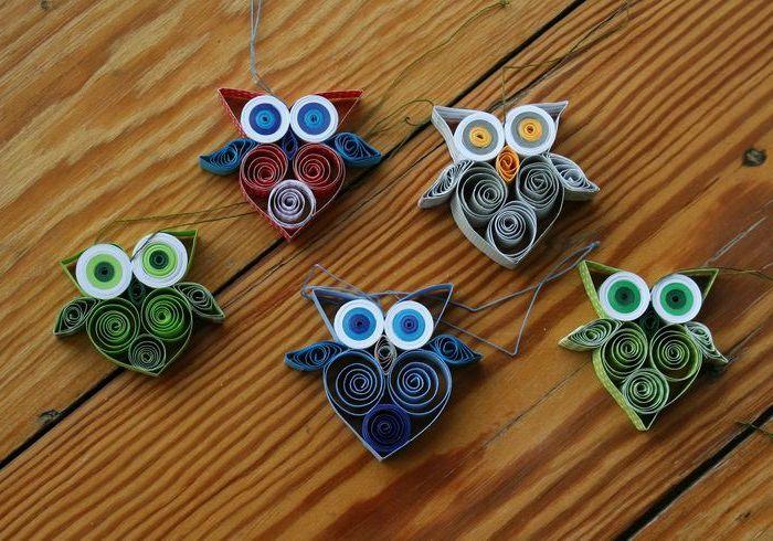 Красивые совы из бумаги в техники квиллинга