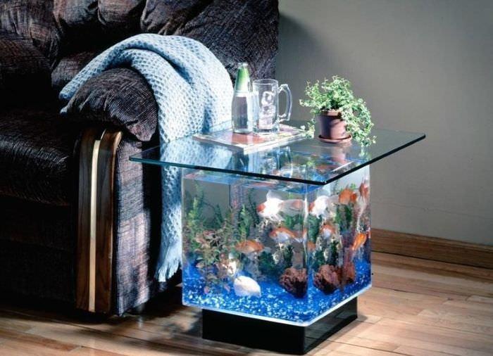 Маленький аквариум в виде журнального столика