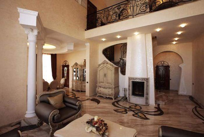 Холл-гостиная частного дома в стиле модерн