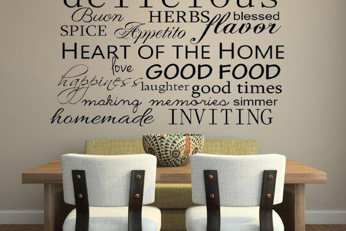 Надписи на стене в интерьере модной кухни