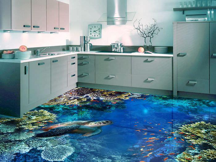 Интерьер современной кухни с наливным полом