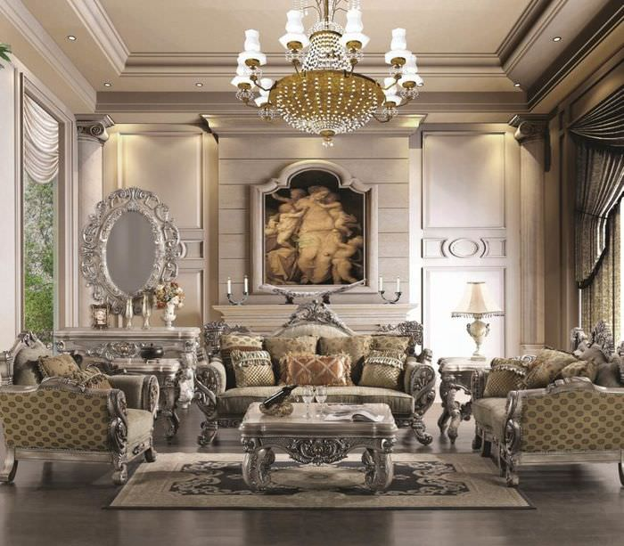 Прямоугольный коврик на полу гостиной в стиле ренессанс