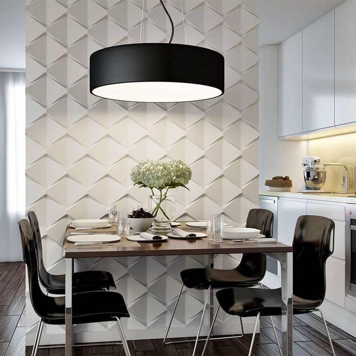 Оформление стены в столовой-кухне с помощью 3D-мозаики