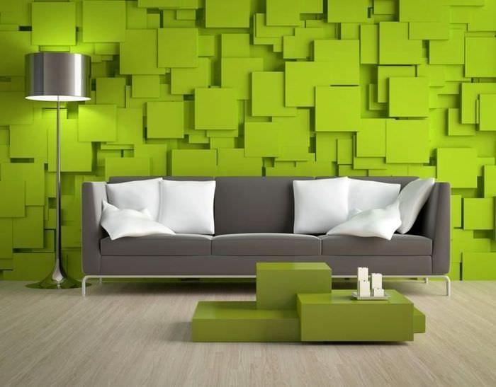 Декорирование стены гостиной 3D-панелями