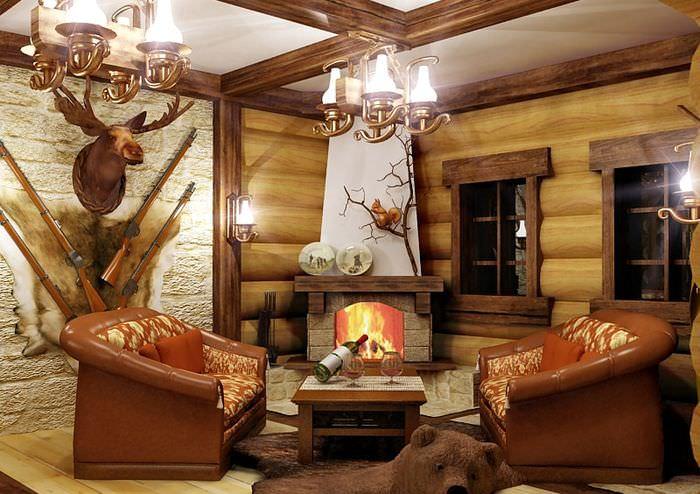 Дизайн гостиной в охотничьим стиле