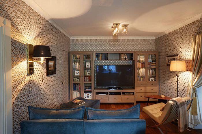 Освещение гостиной в хрущевке кирпичного дома