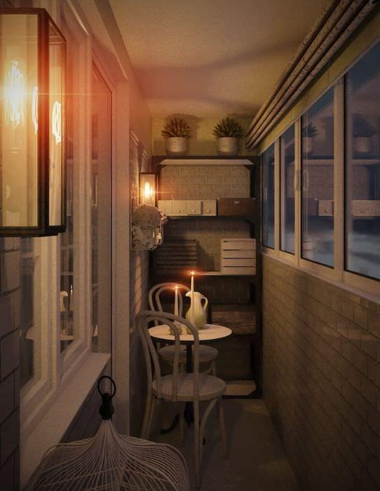 Дизайн узкого балкона в стиле прованс