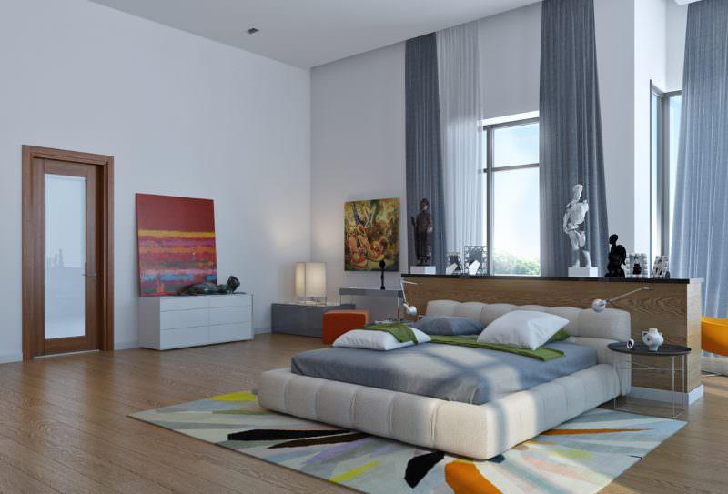 Интерьер просторной спальни в современном стиле