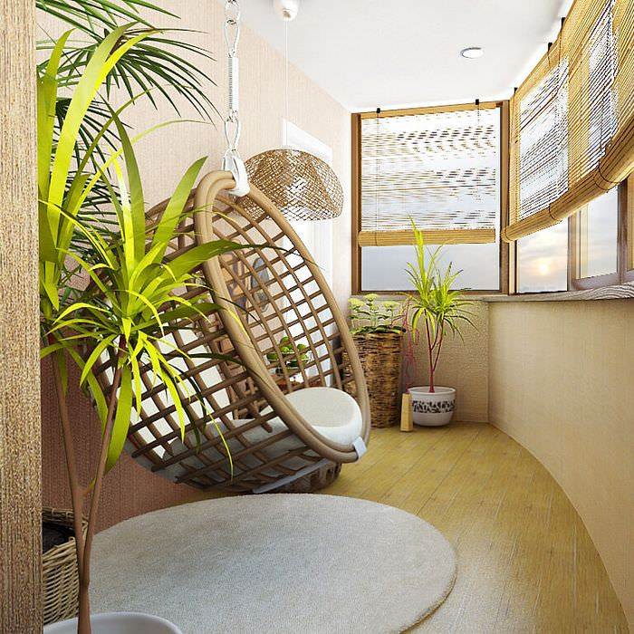Подвесное кресло на современном балконе