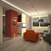 Колонна из красного кирпича между кухней и гостиной