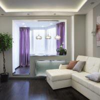 Дизайн гостиной с присоединенным балконом