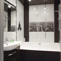 Дизайн ванной в черно-белом цвете