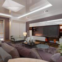 Натяжной потолок в гостиной городской квартиры