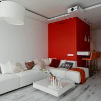 Красная стена в гостиной панельного дома
