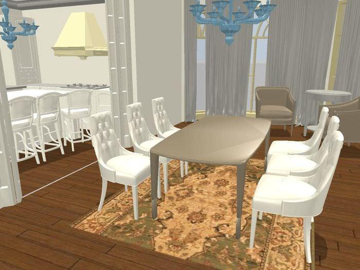 Проект обеденного места с шестью стульями