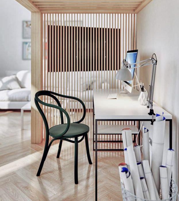 Зонирование общей комнаты с помощью перегородки из тонких реек