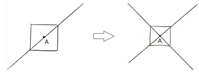 Рисование направляющих линий через углы и центр комнаты
