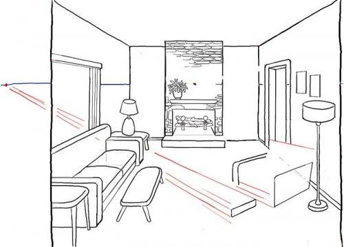 Рисование интерьера комнаты с помощью двух точек исхода
