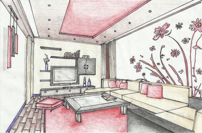Рисунок интерьера будущей гостиной