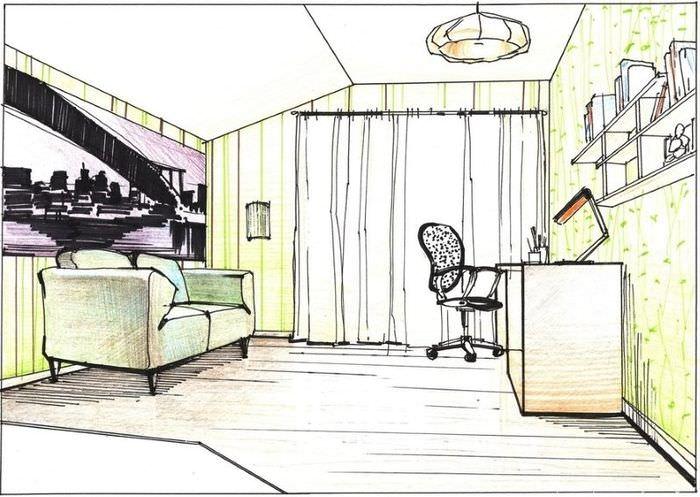 Нарисованный своими руками дизайн комнаты подростка