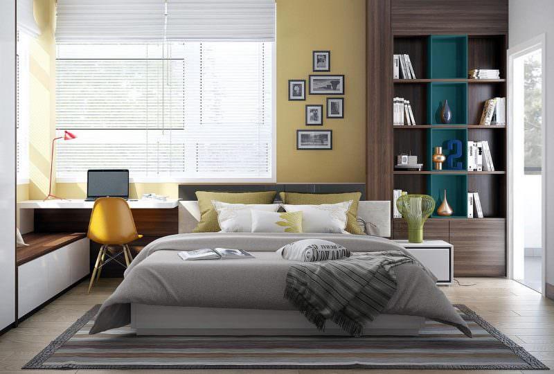 Серая кровать в современной спальне