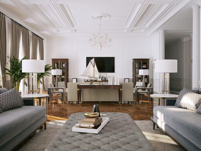 Интерьер светлой гостиной с белым потолком