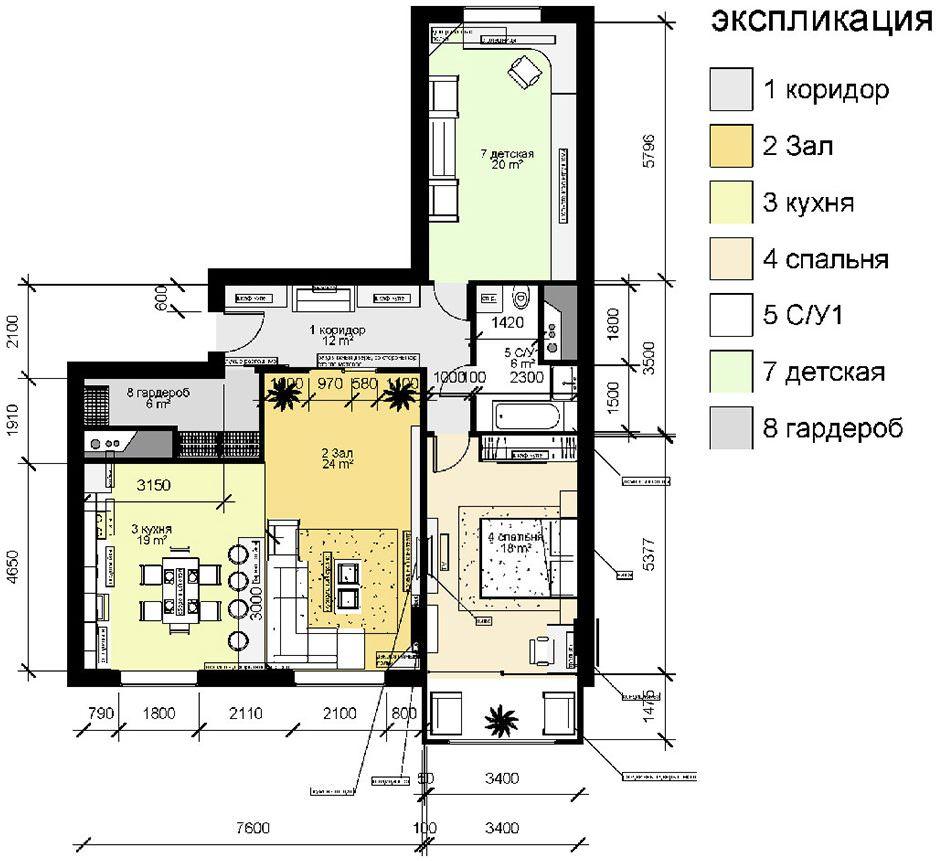 Схема трехкомнатной квартиры с расстановкой мебели