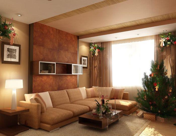 Дизайн зала в трехкомнатной квартире